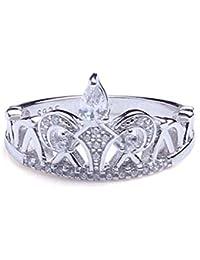 ANGG Claro Exquisito Princesa corona Zirconia cúbica Diamante CZ Plata esterlina 925