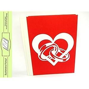 Hochzeitsalbum Fotoalbum Herz mit Ringen rot weiß