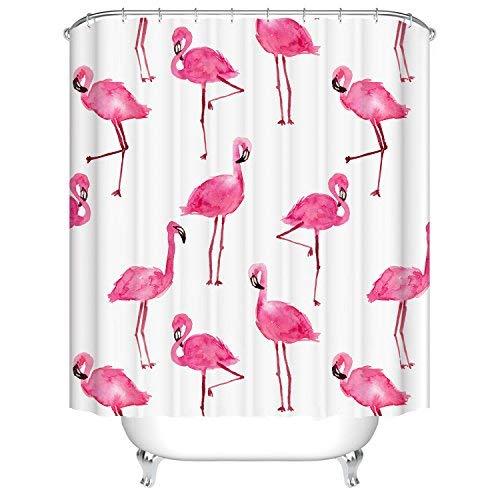 Qile 180 x 180cm Duschvorhang, Anti-Schimmel 100{041760713a414ed0c973bce93dcb6fa7d465a13941e14f26b17c514fb37f2719} Polyester Badewanne Duschvorhänge, 3D Effekt und Digitaldruck, Wasserdicht mit 12 weißen Haken (Mehr als nur Flamingos)