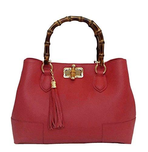 Contessa dal pozzo Ginevra Bambu, sac à main Rouge (Rosso)