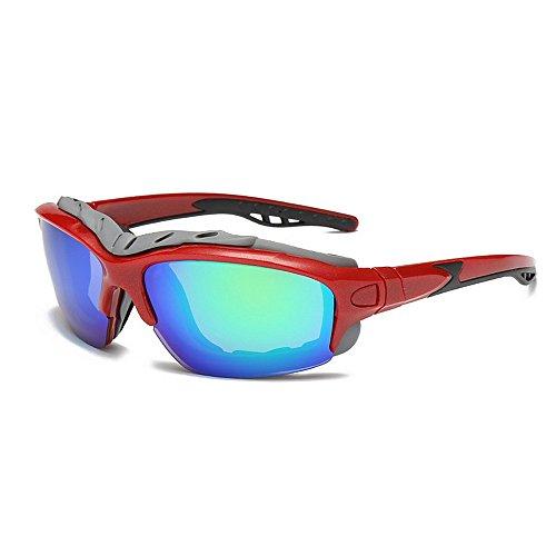 Easy Go Shopping Persönlichkeit Übergroßen Umrandeten Sport Sonnenbrille Polarisierte Farbige Linse UV400 Schutz Fahren Radfahren Laufen Angeln Golf Sonnenbrillen und Flacher Spiegel (Farbe : Rot)