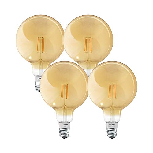 OSRAM SMART+ LED Filament Globe Gold, Bluetooth Lampe mit E27 Sockel, dimmbar, ersetzt 50W Glühbirne, warmweiß , 4er Pack, Kompatibel mit Apple Homekit und LEDVANCE Smart+ App für Android (Gold Globe Lampe)