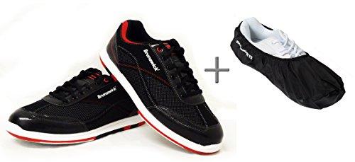 Bowling-scarpe, Brunswick Titan + Shoe Cover (stivale) Brunswick Defense, da uomo e donna, per destrorsi e mancini, colore rosso-nero, scarpa taglia 39 5 fino a 46. - nero/rosso