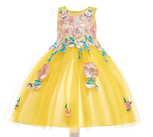 ASKEN Mädchen Hochzeit Blumenkleid Tüll Stickerei Prinzessin Feiertags Festzug Ballkleid Himmel Gelb 140