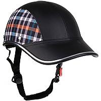 MagiDeal Gorra Casco Protector de Cabeza de Béisbol Motocicleta Moto Anti-UV Visor de Sombrero Seguridad Ajustable - Rejilla Negra