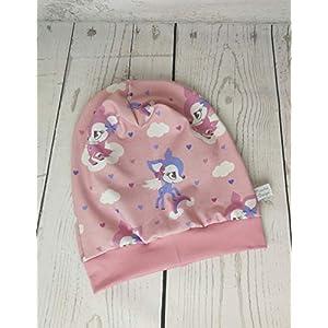 Baby Kinder Beanie Mütze Mädchen Wolkenkitz Altrosa KU 34-54 cm handmade Puschel-Design