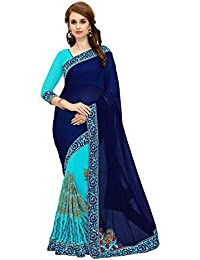 c8cdb1cf0b MARUTI FASHION saree for women skyblue - neavy blue georgette embroidery  rose work saree sari (half and half…