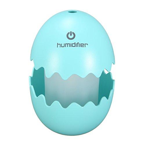 Preisvergleich Produktbild Skymore Ei Raumbefeuchter, Tragbarer Ultraschall Luftbefeuchter, mit LED Nachtlicht für Schlafzimmer/Büro/Auto Blau