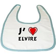 Bavoir de bébé avec J'aime Elvire (Noms/Prénoms)
