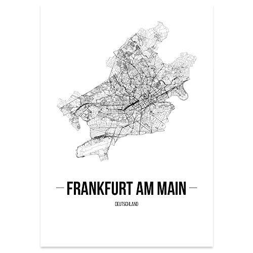 JUNIWORDS Stadtposter, Frankfurt am Main, Wähle eine Größe, 40 x 60 cm, Poster, Schrift B, Weiß