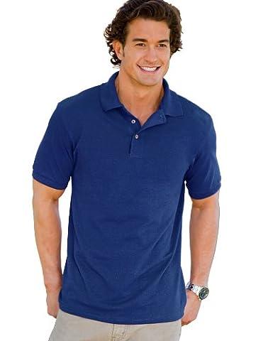 Hanes Polo de coton Poly Welt col et poignets côtelés piqué à manches courtes pour homme - bleu - XXXX-Large