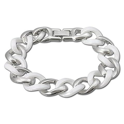 Amello bijoux en acier inoxydable - Amello bracelet en céramique gourmette blanc - bracelet en acier inoxydable pour femmes - ESAX18W0