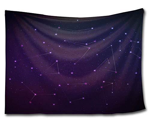 KISY Night Stars Wandteppich Meteor Sternenhimmel Baumwolle Mandala Hippie Tapisserie Bling Dots Collage Dorm Strand Überwurf Wanddeko 152,4 x 137,1 cm, Dunkelviolett, Multi, 60x51(in) - Bling Dots