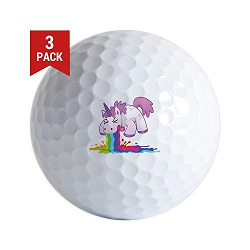 Golf Balls Set of 3 Unicorn Vomiting Puking Rainbow