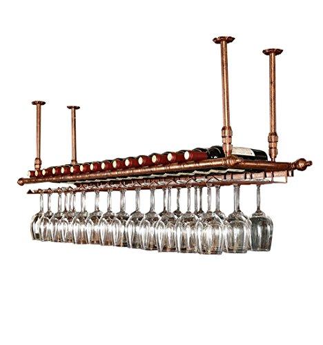jiujia Wand-Weinregal, hängende Metall Eisen Regal bar Decke Wandbehang Weinglas Champagnerglas Becher Weinregal Weinflaschenregal 2 Größe (Farbe : Bronze, größe : 120×30cm)