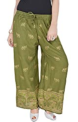 Soundarya Womens Green Cotton Palazzo (EPP1_Green)