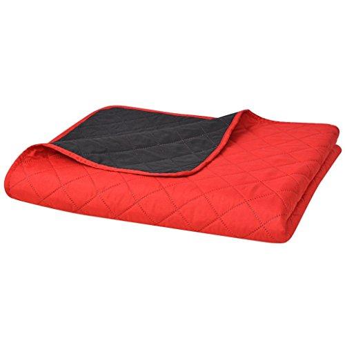 vidaXL Zweiseitige Tagesdecke Steppdecke Bettüberwurf Rot und Schwarz 170x210 cm