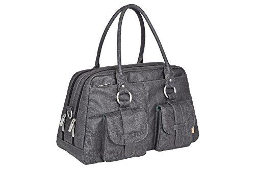 Lässig Vintage Metro Bag Wickeltasche/Babytasche inkl. Wickelunterlage Twill, choco Twill black