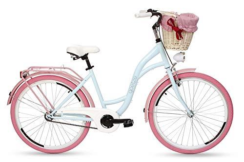 Goetze Damenfahrrad 26 Zoll Damen Citybike Stadtrad Damenrad Hollandrad Retro-Design Weidenkorb LED-Beleuchtung Hellblau/Rosa