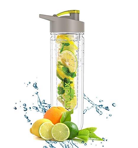 Premium Fruit Infuser Trinkflasche | Infuser Water Bottle für Detox | Sport Wasserflasche mit Obst- und Gemüse Einsatz | Für Ingwer, Gurke und Beeren etc. | Hochwertiger BPA freier Kunststoff