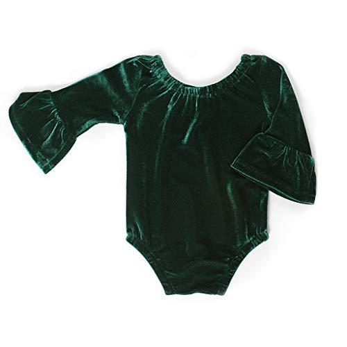 Livoral Kleinkind Baby Mädchen Pleuche Flanell Strampler Overall Outfits Kleidung(Grün,18-24 Monate)