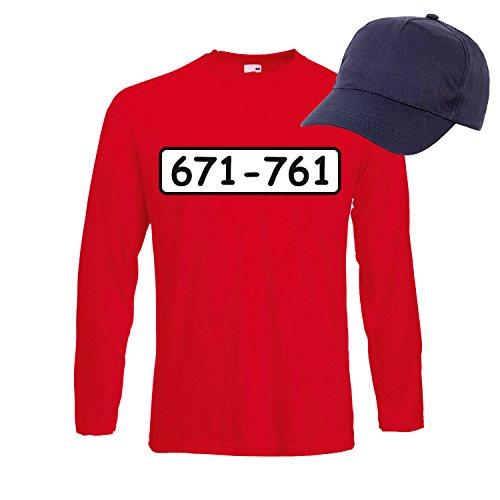 Langarm T-Shirt SET PANZERKNACKER Kostüm Karneval Fasching Verkleidung Outfit SET03 T-Shirt/Cap L (T-shirt Charmante Herren)