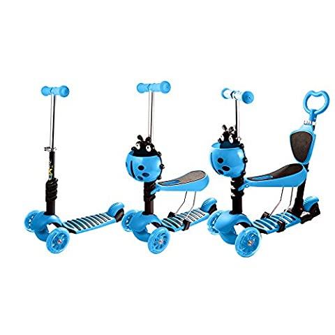 Ancheer Kids Kick Scooter 5-in-1 Baby Walker Stroller Deluxe 3 Wheel Micro Mini Scooter with Removable Seat, Adjustable Handlebar, LED Flahing Wheels for Beginner Boys Girls Toddlers (Blue)