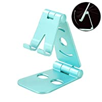Eastever Portable Adjustable Phone Stand, Foldable Cell Phone Holder, Aluminum Desktop Hands Free Mobile Smartphone Cradle for Universal Phone Android Smartphone iPhone iPad - Blue
