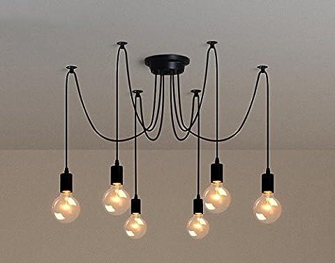 6Pcs E27 Douille Retro Suspensions Luminaires Vintage Plafonnier Luminaire Lumiere Plafond Lustre Vintage Plafond Lumière Eclairage de Plafond Plafonnier Lumiere Pendentif éclairage