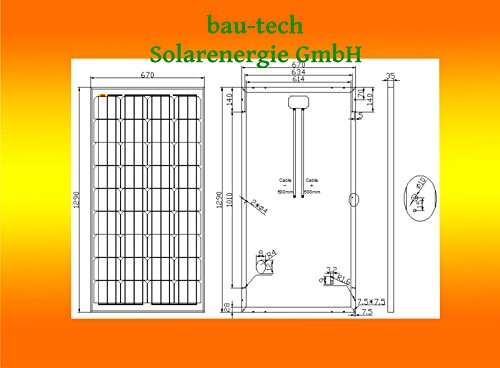 1 Stück 130 Watt Solarmodul Solarpanel Photovoltaik Solarzelle monokristallin von bau-tech Solarenergie GmbH -