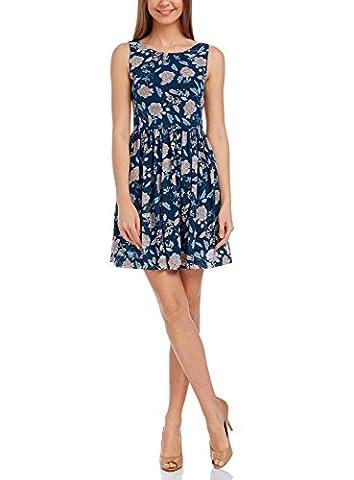 oodji Ultra Femme Robe Imprimée Dos avec Nœud, Bleu, FR 38 / S