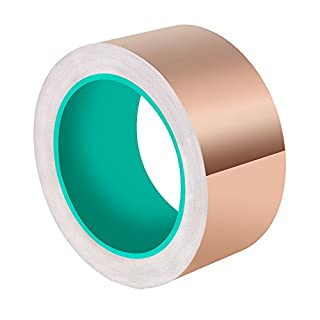 ASIV 50mm X 20M Copper Foil Tape, Double-Sided Conductive Adhesive Tape for Guitar, EMI Shielding, Slug Repellent, Grounding and Soldering