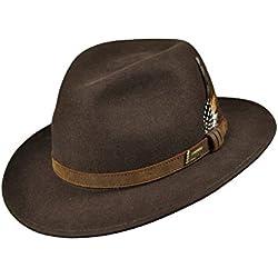 Hubertus - Chapeau de chasse en cuir avec plume - Pour homme et femme, 56