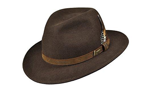 Hubertus - Chapeau de chasse en cuir avec plume - Pour homme et femme, 61