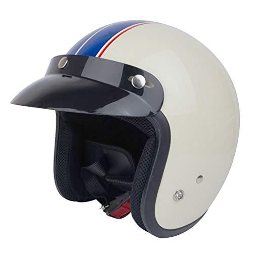 Qianliuk Abnehmbare Maske Männer 3/4 Vintage Moto Helm Classic Goggles Scooter Schutz Retro Open Face Motocycle Helme