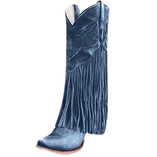 Yowablo Damen Stiefel Mode Wohnungen Quaste Spitze Zehe Schuhe mit niedrigen Absätzen Western Knight Stiefel (40 EU,Blau)