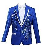 George Herren Blazer Hochzeit Anzug Slim Fit Smoking Tuxedos Festlich Anzuege Herrenmode Smokingsakko 1 Teilig Anzug Sakko Mit Stickereien (Color : Blau, Size : L)