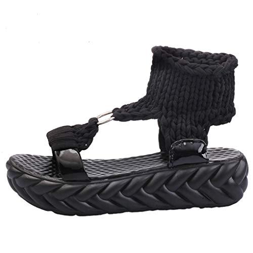 Frauen Plateau Sandalen Slingback Stricken Atmungsaktiv Komfort Slip On Casual Offene Zehen Flache Schuhe -