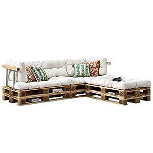 [en.casa] Euro Paletten-Sofa - DIY Möbel - Indoor Sofa mit Paletten-Kissen/Ideal für Wohnzimmer - Wintergarten (3 x Sitzauflage und 5 x Rückenkissen) Weiß