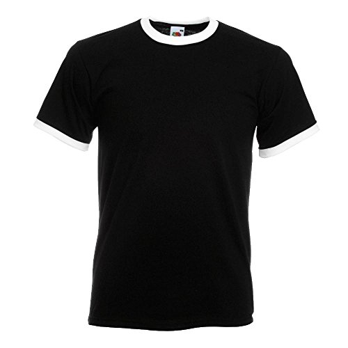 Fruit of the Loom - Kontrast T-Shirt 'Ringer T' XL,Black/White - Kontrast Ringer T-shirt