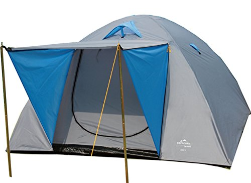 EXPLORER Zelt Iglu 3 Doppeldach Kuppelzelt mit Vordach Igluzelt 210x240x130cm 3/4 Personen 2000mm Wassersäule wettergeschützter Eingang Outdoor Wandern Familie Camping