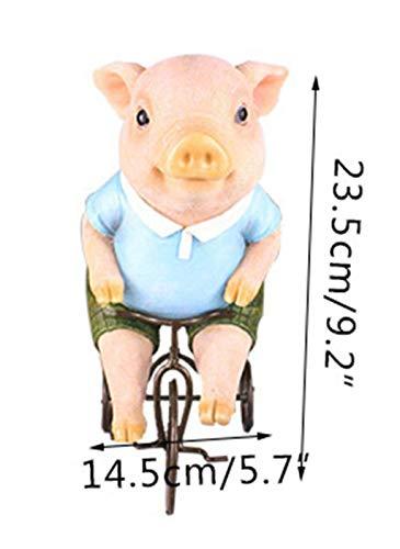 WFSDKN Dekoration Cartoon Ritter Schwein Ornament Harz Handwerk Schwein Reiten Fahrrad Miniatur Tierfigur Geschenke Wohnkultur Innenausstattung Geschenke, Schwein -