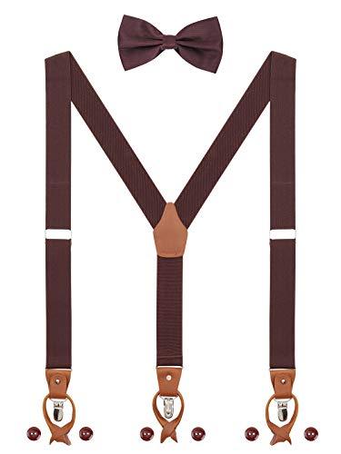 Herren Hosenträger Fliege Set 2 WAY TO WEAR 6 Leder Knopfloch 3 Clips Y-Form 3,5cm Breit Verlängerte Hosenträger für Körpergröße 160-200cm - Dunkelbraun -