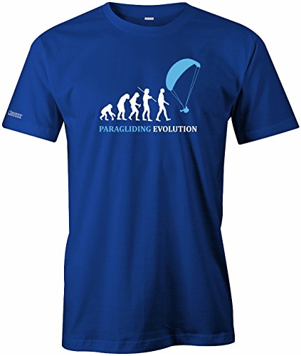 Paragliding Evolution - Herren T-Shirt in Royalblau by Jayess Gr. M