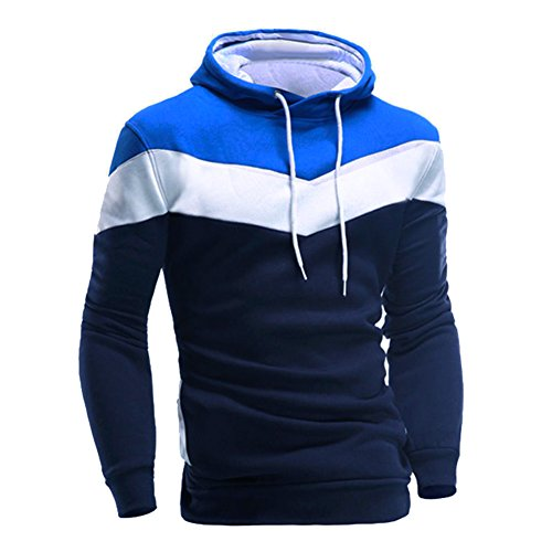 CHIC-CHIC Men Hoodie Warm Sweatshirt Coat Jacket Outwear Winter Streetwear, Blue, Large