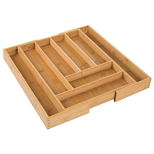 InterDesign Formbu Expandable Bamboo Cutlery Drawer Organizer with Divided Compartments for Kitchen, Dresser, Bathroom, Desk, Bedroom - Natural