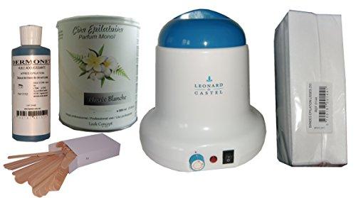 Storepil - Kit épilation chauffe Pot 800 ml Léonard de Castel. Cire jetable NACREE BLANCHE avec bandes et huile post épilation