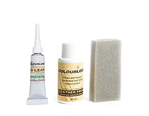 COLOURLOCK Leather Fresh Dye 30 ml & Fluid Leather Filler for Mercedes interiors to repair scuffs, colour damages, light scratches on side bolsters and car seats (Berryrot / Red