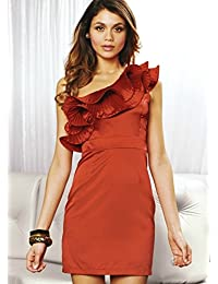 Lipsy One Shoulder Ruffle Party Evening Dress Red Size 10 Medium