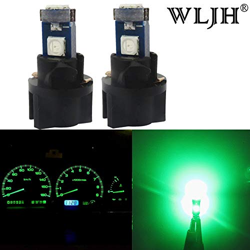 WLJH T5 Ampoule LED Super Lumineux Cluster de jauge de tableau de bord Tableau de bord ampoules avec T5 Twist Lock Douille Lot de 10, Vert